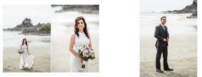 Portrait of Bride with Bouquet on the Beach