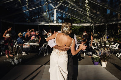 Bride and Father dance in tent