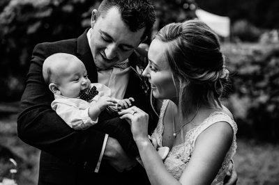 Bride, Groom and Their Baby At Lantzville Wedding