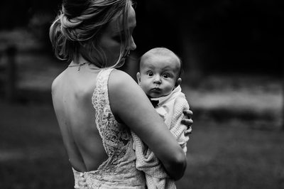 Bride and Her Baby At Wedding in Langley