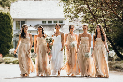 Bride and Bridesmaids Wearing Champagne Dresses
