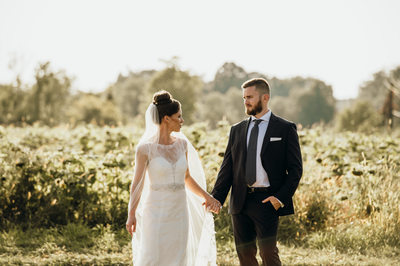 Photo of Bride and Groom in Sunflower FIeld