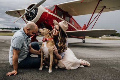 Airport Engagement Session with Puppy