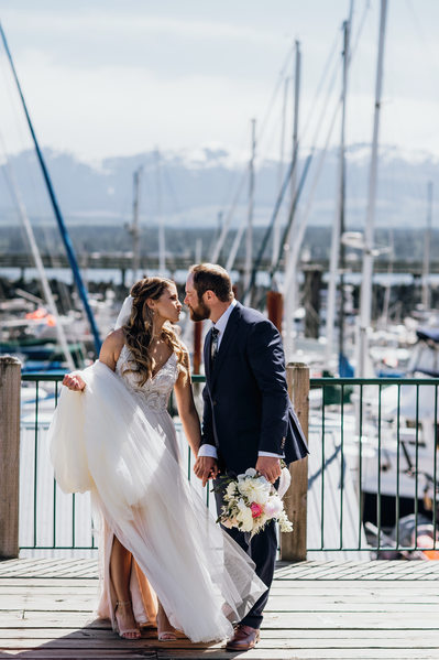 Bride and Groom's Wedding Photos at Harbour