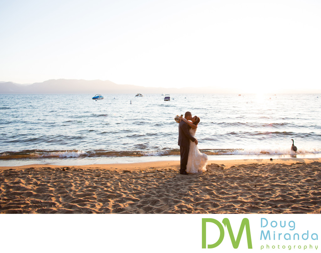 South Lake Tahoe Sunset Beach Wedding Pictures