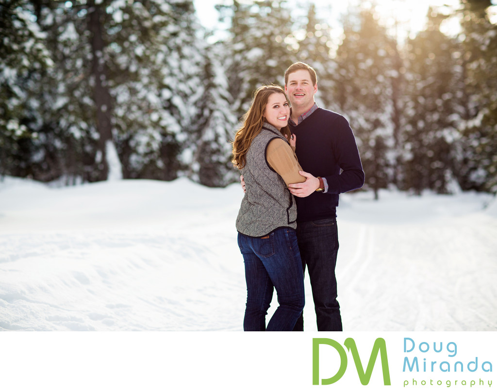 Snowy Lake Tahoe Winter Engagement Session