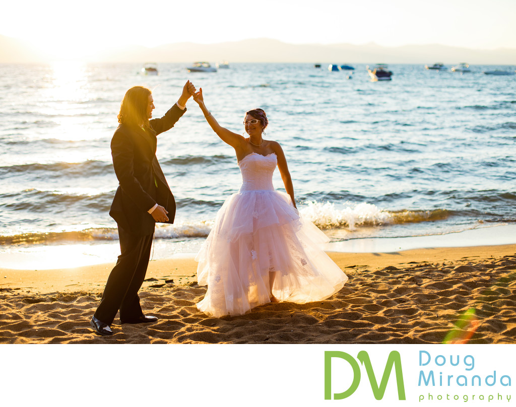 Sunset Wedding Photography at Zephyr Cove Resort