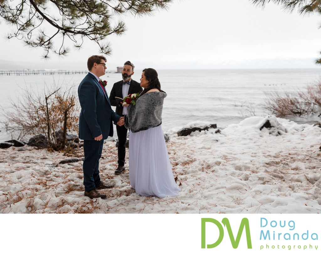 North Lake Tahoe Winter Elopement Ceremony Photos
