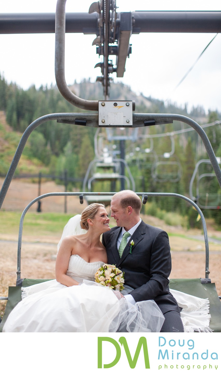 Resort at Squaw Creek Wedding Chair Lift Photos