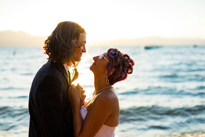 Sunset Wedding Photos at Zephyr Cove Resort