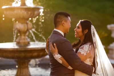 Grand Island Mansion Wedding Fountain Photos