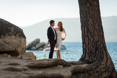Sand Harbor Lake Tahoe Elopement Photograph