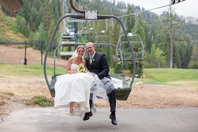 Resort at Squaw Creek Wedding Ski Lift Photos