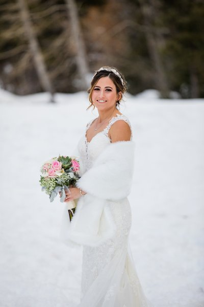 Chateau at Incline Village Winter Wedding Bridal Photos