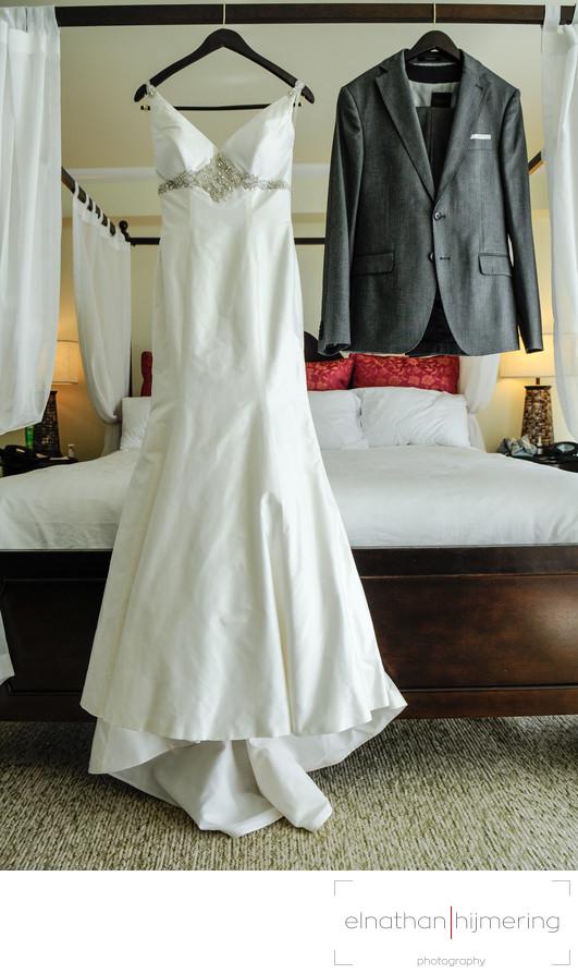 gown and suit hanging - Aruba Wedding Photographer - Elnathan ...