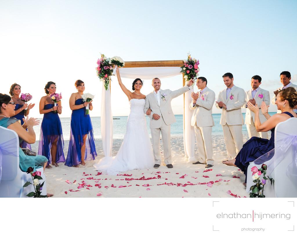 Just Married Bride And Groom Beach