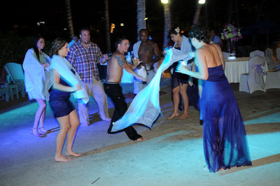 undressed wedding party dancing