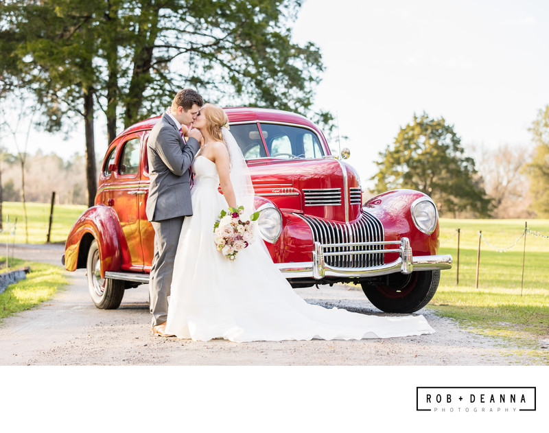 Memphis Wedding Photographer Mallards Croft Car Kiss