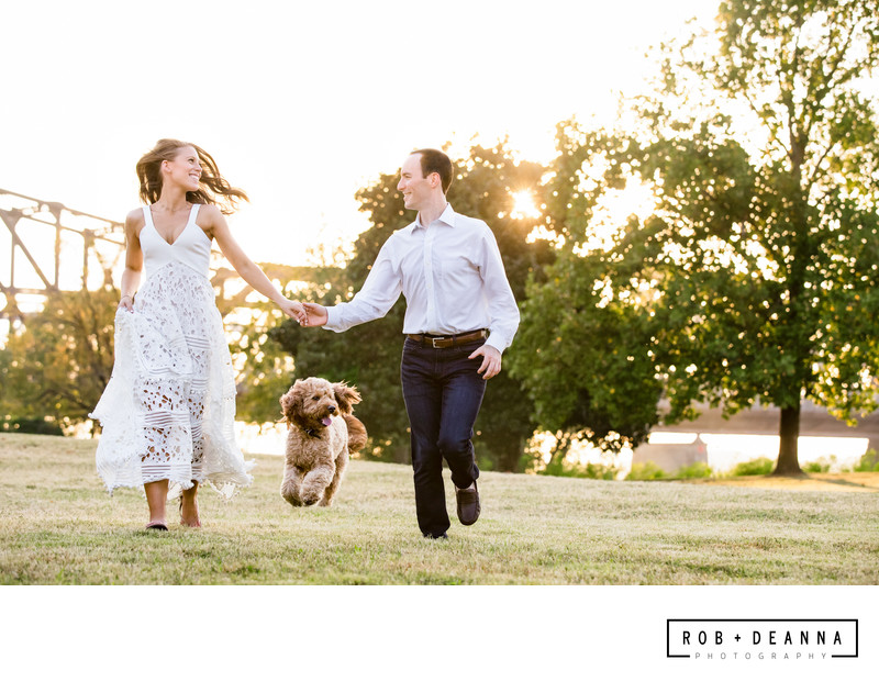 Memphis Wedding Photographer Husband and Wife Team Run with Dog