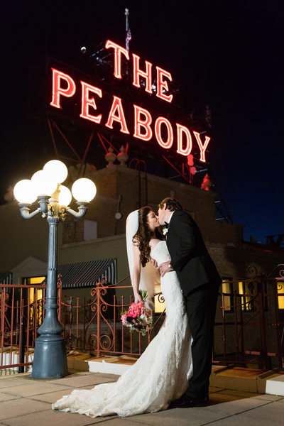 Memphis Wedding Photographers Peabody Rooftop at Night