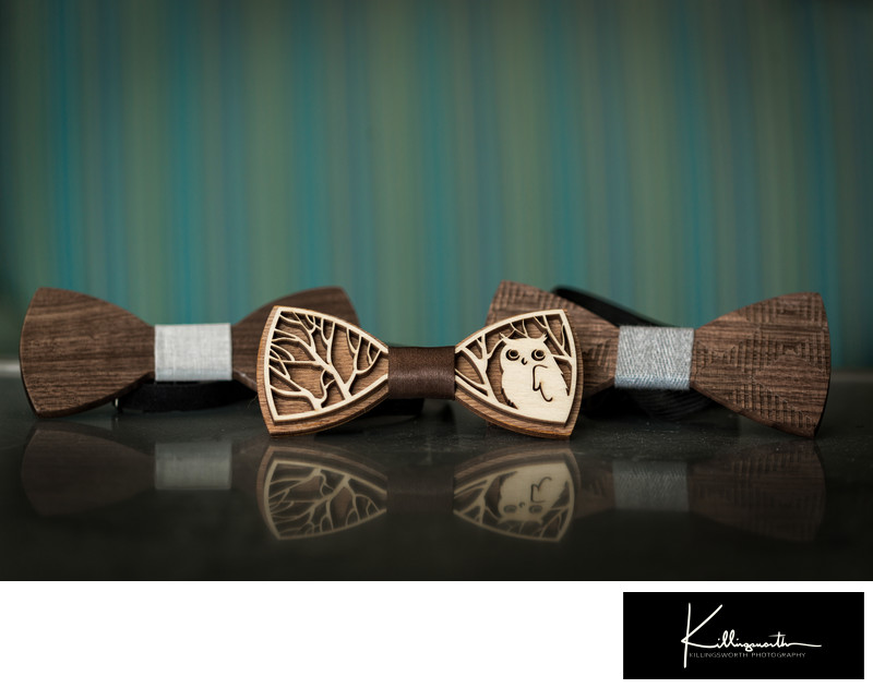 grooms wedding wooden bowtie with owl