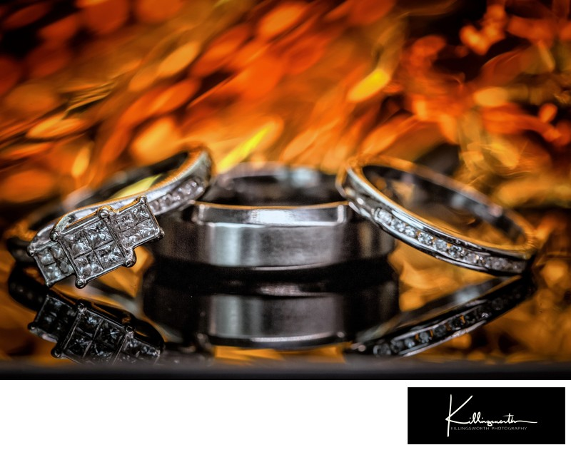 wedding rings on fire