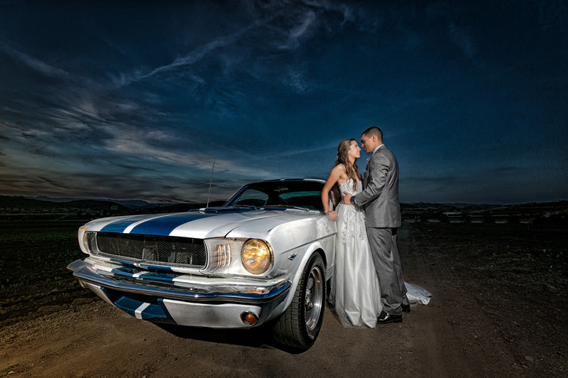 epic ford mustang bride and groom