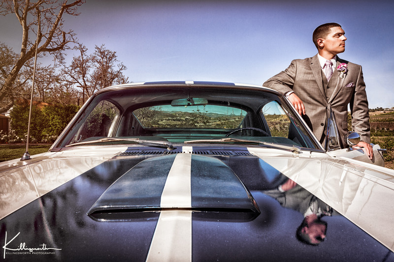 groom and a 1965 ford mustang gt 350