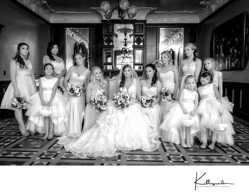Editorial bridal party in the ballroom newhall mansion