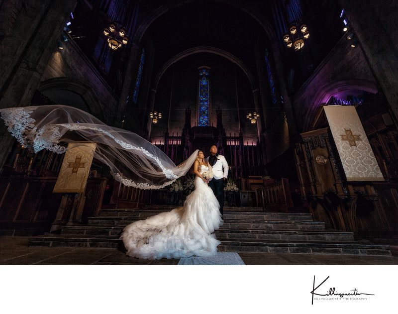 bride and groom high fashion at First congregational church of Los Angeles