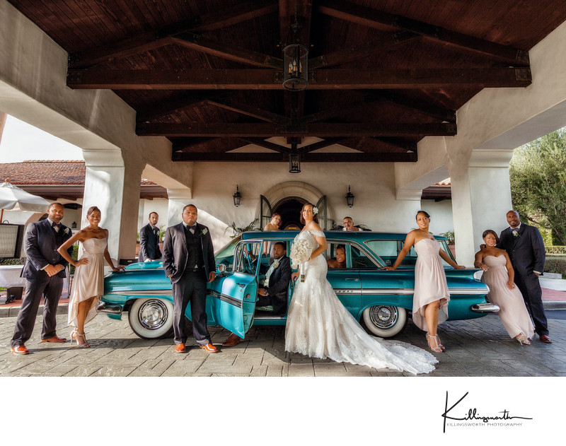bridal party portrait with vintage station wagon Wilshire Country Club