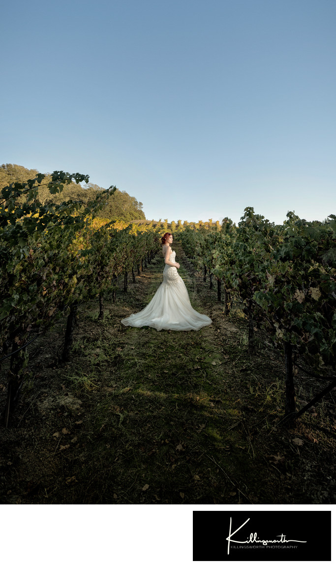 sarah posing in villa aix vineyards wedding venue