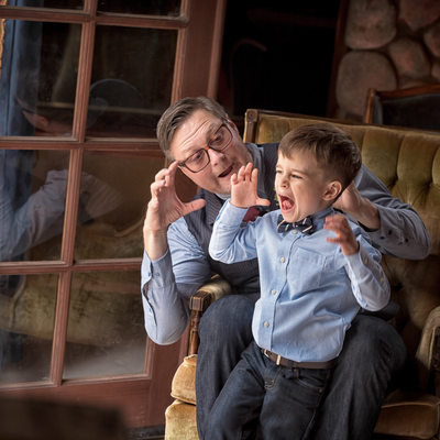 groom and son making monster faces