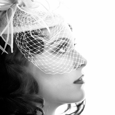 vintage black and white bridal portrait
