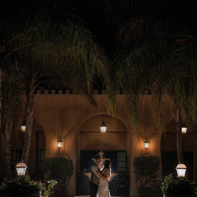 bride and groom romantic wedding night photo