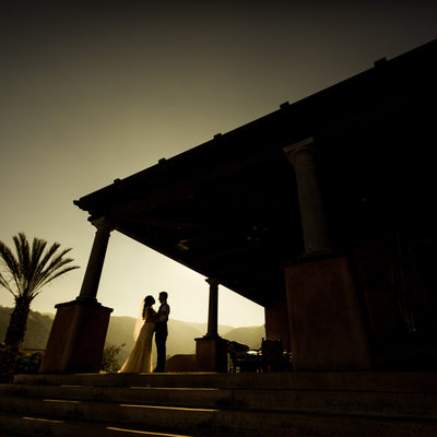 bride and groom country club silhouette
