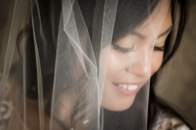 bride with veil wedding photo