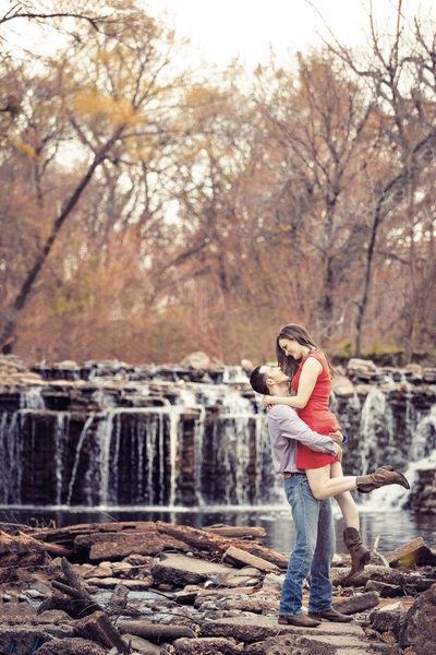 Prairie Creek Park engagement photo waterfall