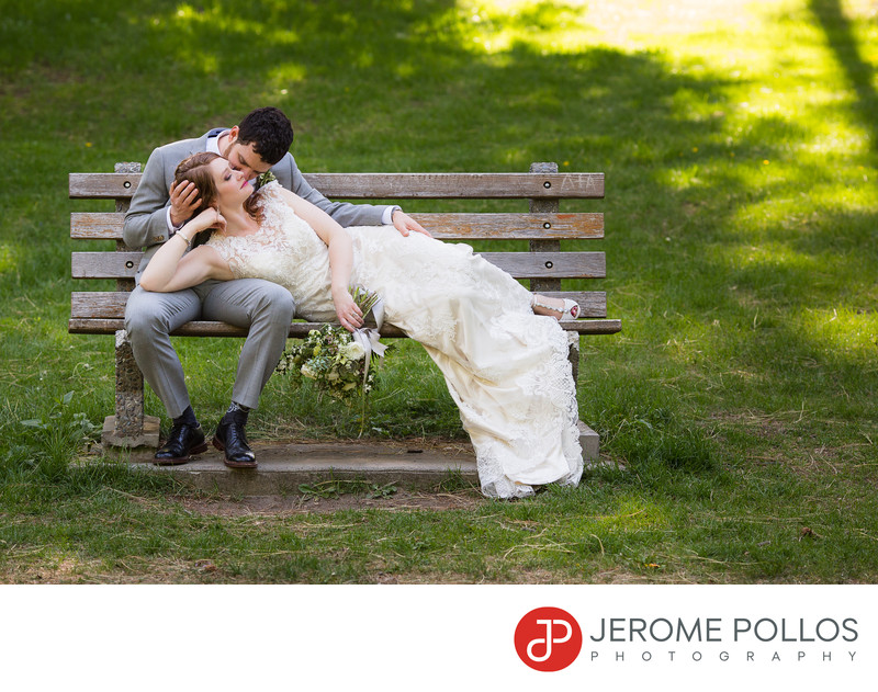 A Bride And Groom Relax On A Spokane Washington Bench