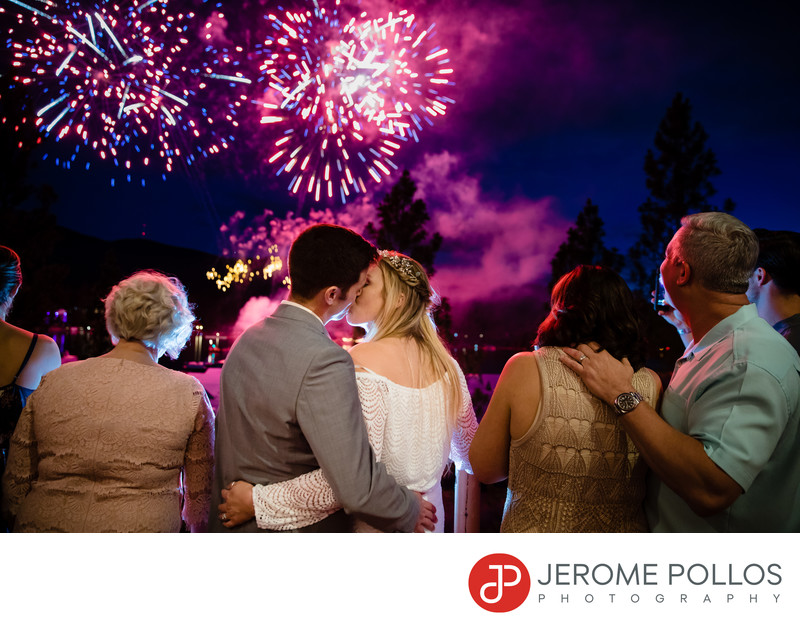 Fireworks Post Falls, Idaho Wedding Kiss