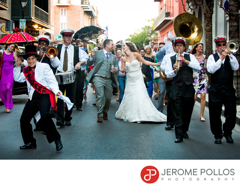 New Orleans French Quarter Second Line Wedding Parade