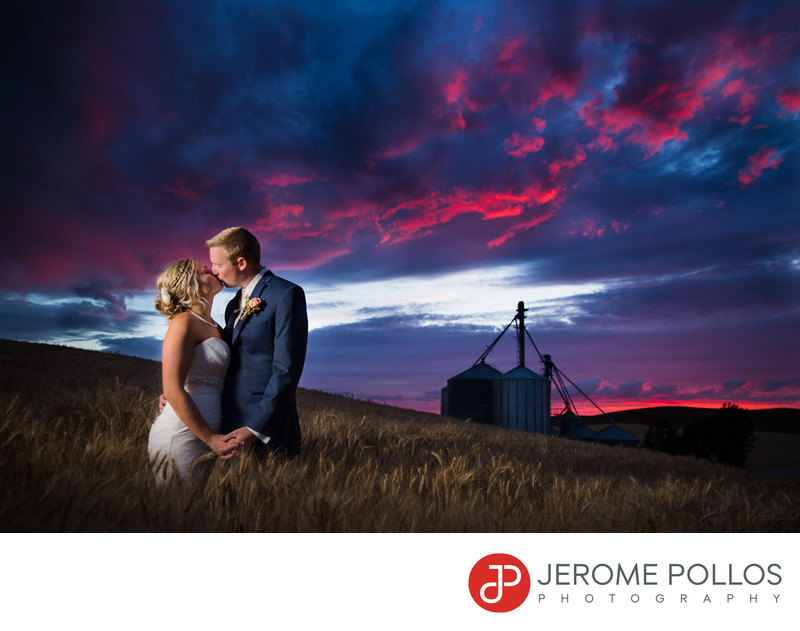 Wheat Field Wedding Sunset Kiss Pullman Washington