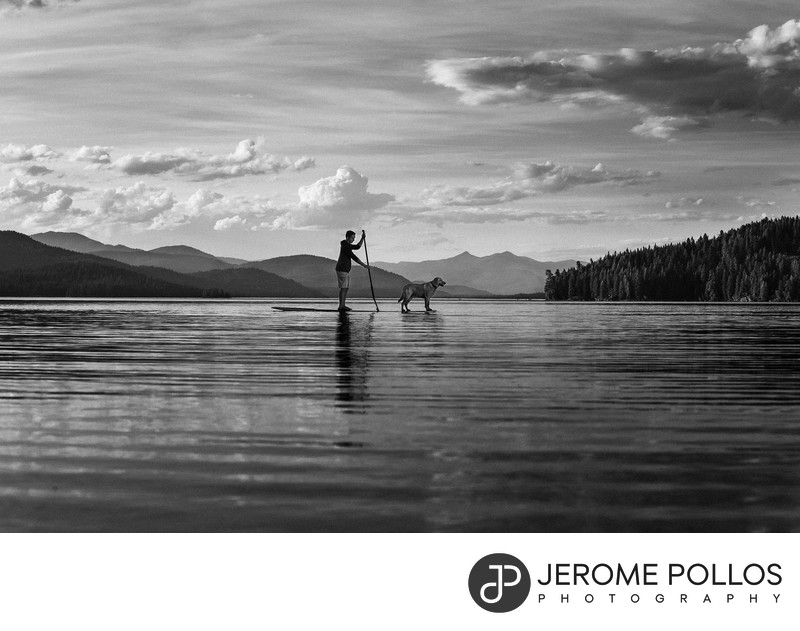Paddleboarding With A Dog Senior Portrait