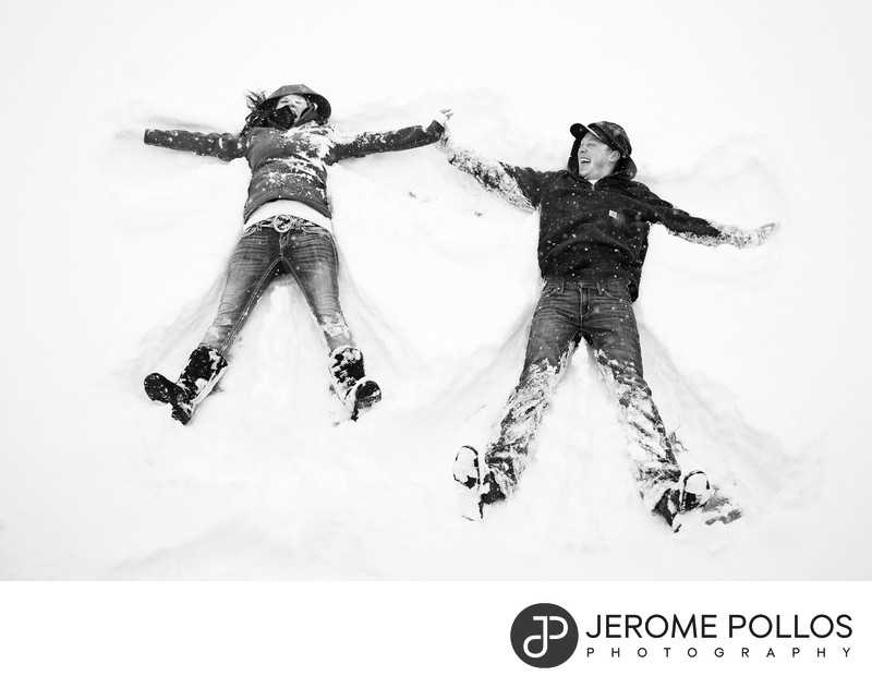 Snow Angel Engagement Portrait