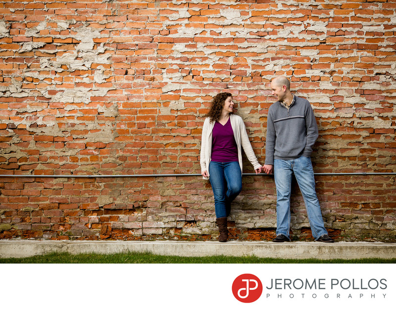 Brick Wall Engagement Portrait