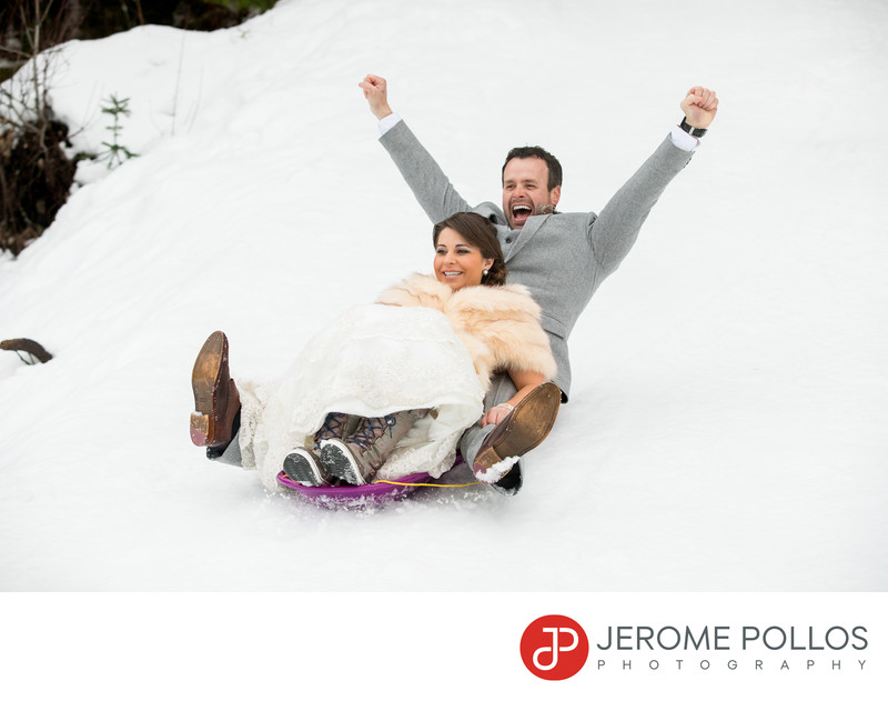 Bride Groom Sledding Elk Mountain Ranch Coeur d'Alene