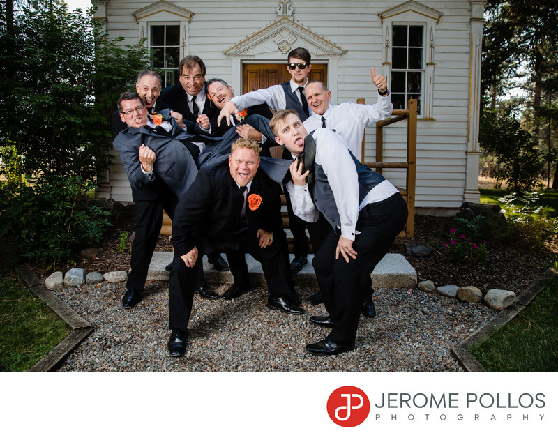 Groom And Groomsmen Fun Fort Wright Portrait Spokane