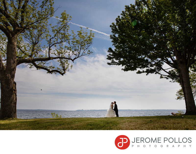 Lake Ontario Wedding Bride Groom Kiss Chaumont New York