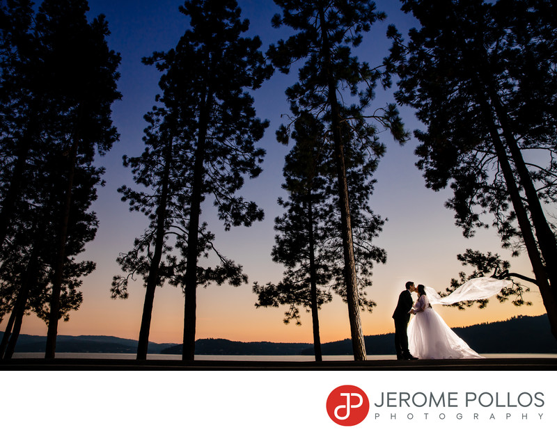 Sunset bride and groom Coeur d'Alene, Idaho wedding