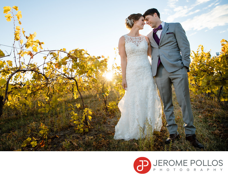 Bride Groom Wedding Portrait Grape Vineyard Trezzi Farm